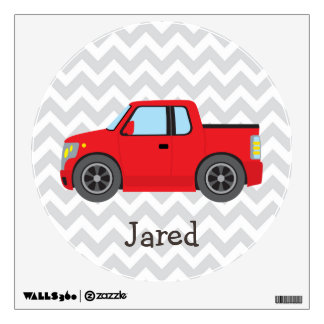 Red Truck on Gray and White Chevron Stripes Wall Stickers
