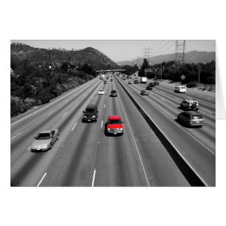 Red Truck On The Freeway Greeting Card