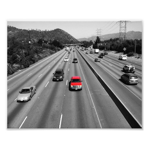 Red Truck On The Freeway Photo Art