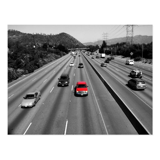 Red Truck On The Freeway Postcard