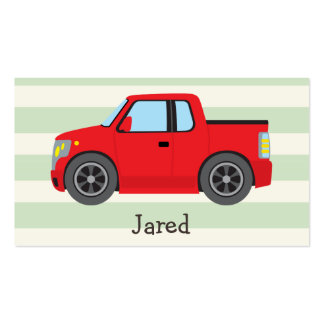 Red Truck; Pastel Green Stripes Double-Sided Standard Business Cards (Pack Of 100)