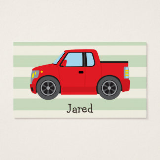 Red Truck; Pastel Green Stripes Business Card