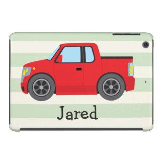 Red Truck; Pastel Green Stripes iPad Mini Cover
