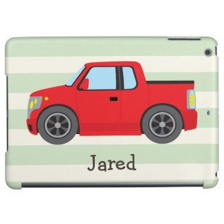Red Truck; Pastel Green Stripes iPad Air Case