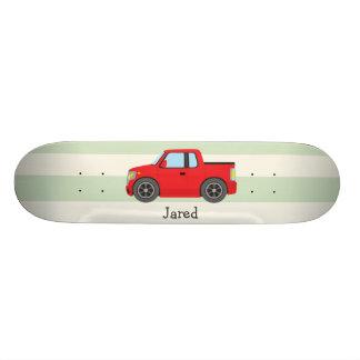 Red Truck; Pastel Green Stripes Skateboard