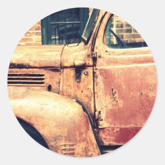 Red Truck Wreck Classic Round Sticker