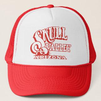 Red Trucker Hat w/ Red Skull Valley, Arizona Logo
