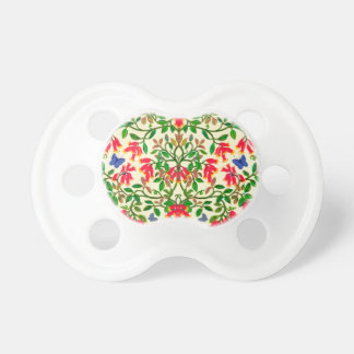 Red Trumpet Floral Vines Baby Pacifier