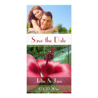 """Red Trumpet Flower /photo  """"Save the Date"""" Custom Photo Card"""