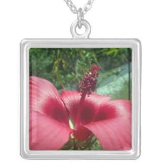 Red Trumpet Flower Square Pendant Necklace
