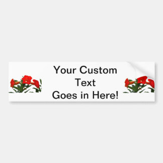 Red Trumpet Flowers cutout photo floral design Car Bumper Sticker