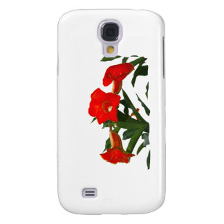 Red Trumpet Flowers cutout photo floral design Samsung Galaxy S4 Cover