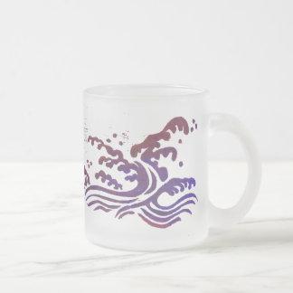 Red Tsunami Frosted Glass Coffee Mug