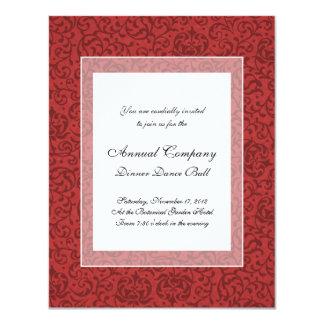 Red Tudor Garden Vintage Floral Pattern 4.25x5.5 Paper Invitation Card