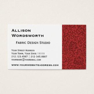 Red Tudor Garden Vintage Floral Pattern Business Card