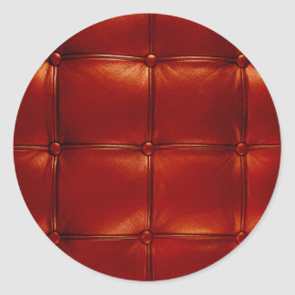 Red Tufted Leather Classic Round Sticker