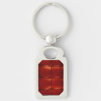 Red Tufted Leather Keychain