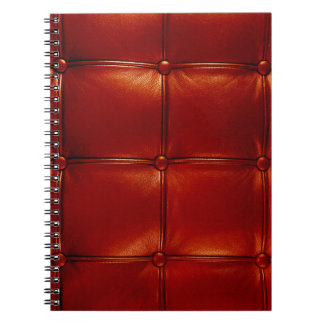 Red Tufted Leather Notebook