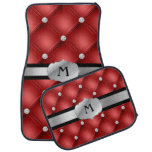 Red Tufted Personalized Monogram Car Mats