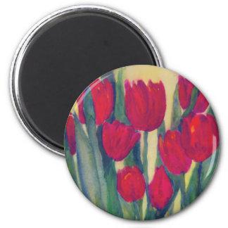 red tulip 2 inch round magnet
