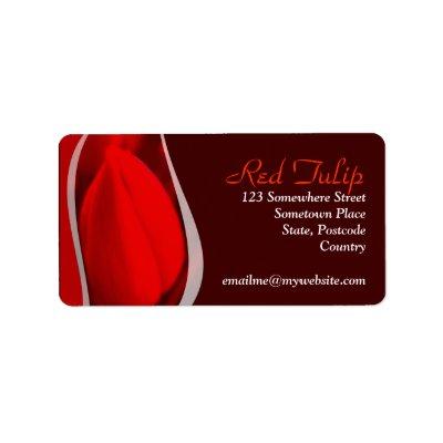 Red Tulip Address Label