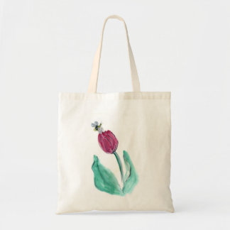 Red Tulip and Bee - Its Spring! Sumi-e Canvas Bags