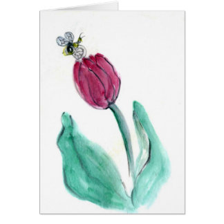 Red Tulip and Bee - Its Spring! Sumi-e in color Card