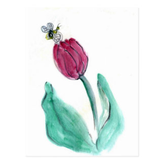 Red Tulip and Bee - Its Spring! Sumi-e in color Postcard