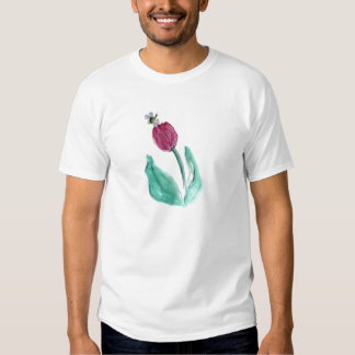 Red Tulip and Bee - Its Spring! Sumi-e in color T-shirt
