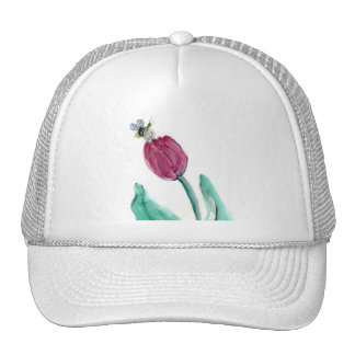 Red Tulip and Bee - Its Spring! Sumi-e in color Trucker Hat