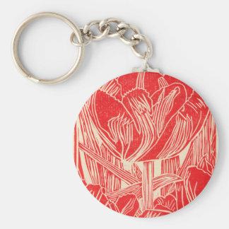 Red Tulip Blockprint Keychain