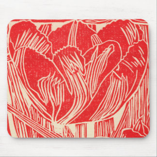Red Tulip Blockprint Mousepad