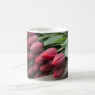 Red tulip bunch coffee mug