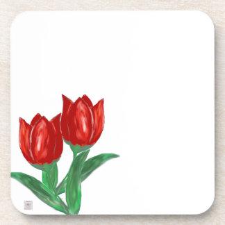 Red Tulip Cork Coaster