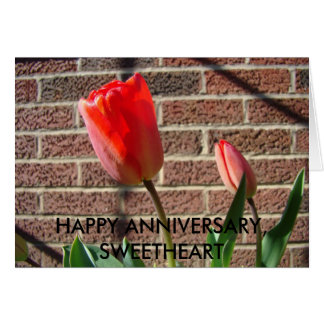 Red Tulip Duo, HAPPY ANNIVERSARY, SWEETHEART Card