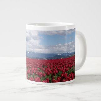 Red Tulip Field Giant Coffee Mug