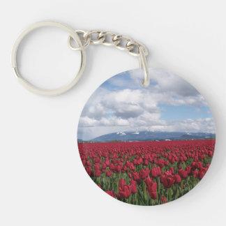 Red Tulip Field Keychain