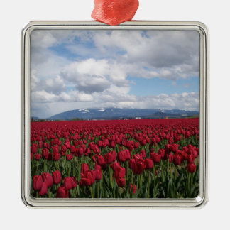 Red Tulip Field Metal Ornament