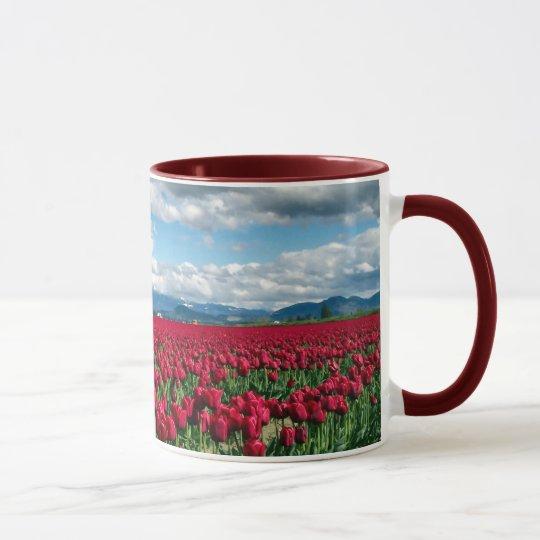 Red Tulip Field Mug