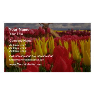 Red Tulip field Oregon flowers Business Card Template