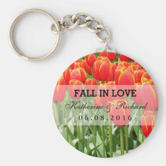 Red Tulip Field Wedding Favor Keepsake Keychain