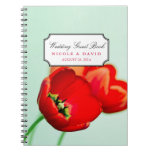 Red tulip floral mint bokeh wedding guestbook spiral note books