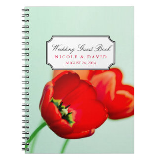 Red tulip floral mint bokeh wedding guestbook spiral notebook
