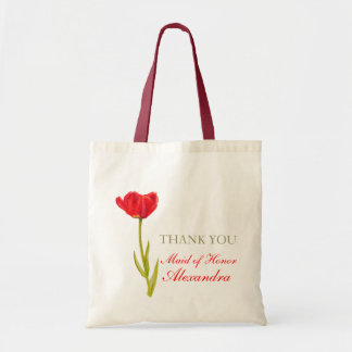 Red tulip flower art wedding maid of honor bag