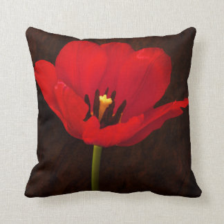 Red Tulip Flower Colorful Floral Stem Throw Pillow