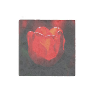 Red Tulip Flower - Fire Stone Magnet