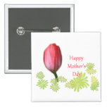 red tulip flower, happy mother's day buttons