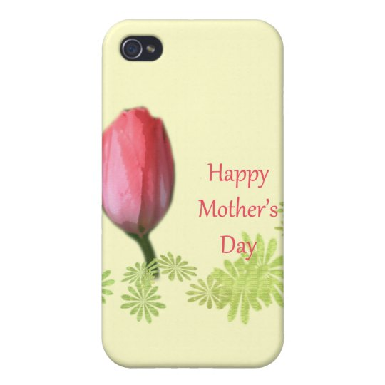 red tulip flower, happy mother's day cover for iPhone 4