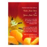 Red tulip flower macro shot wedding invitation personalized announcement