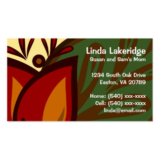 Red Tulip Flower Mommy Contact Card Double-Sided Standard Business Cards (Pack Of 100)